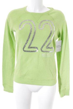 Hollister Strickpullover hellgrün-silberfarben sportlicher Stil