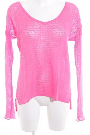 Hollister Strickpullover pink Lochstrickmuster Casual-Look