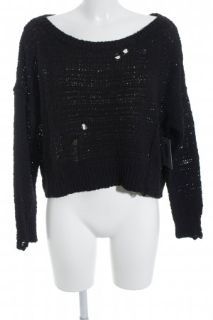 Hollister Strickpullover schwarz Destroy-Optik