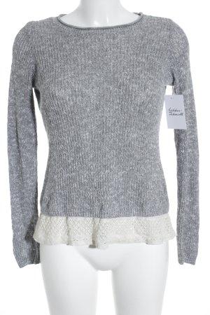 Hollister Strickpullover weiß-grau Farbverlauf Casual-Look