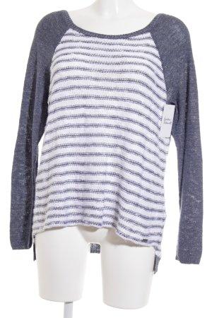 Hollister Strickpullover weiß-graublau Streifenmuster Casual-Look