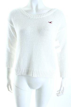 Hollister Strickpullover weiß-schwarz Casual-Look