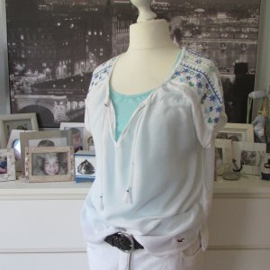 Hollister * Süße Tunika Crash Bluse Coachella * weiß-blau-grün Glitzer Tasseln * M=40/42