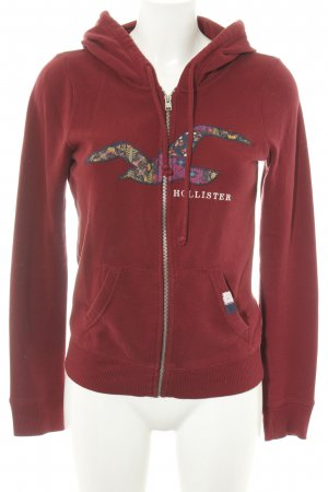 Hollister Sweatjacke rot abstraktes Muster Casual-Look