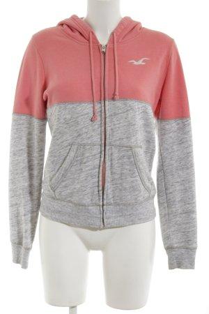 Hollister Veste sweat gris clair-rose moucheté style décontracté