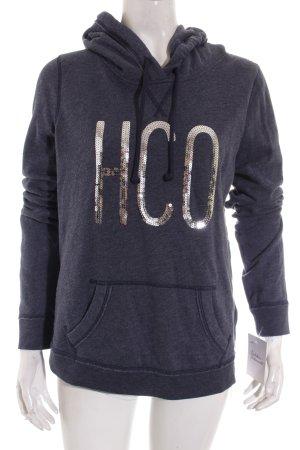 Hollister Giacca fitness blu scuro-argento caratteri ricamati