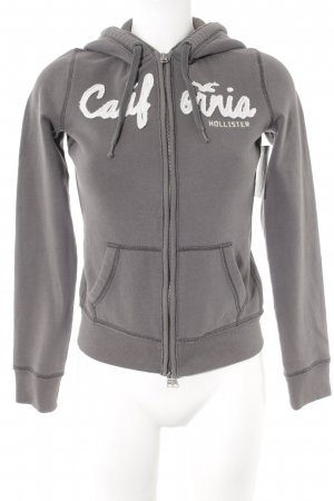 Hollister Sweat Jacket grey-natural white embroidered lettering casual look