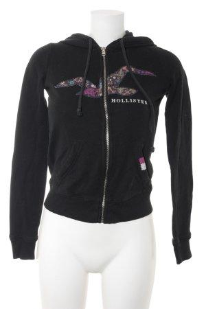 Hollister Sweatjacke schwarz-weiß abstraktes Muster Casual-Look