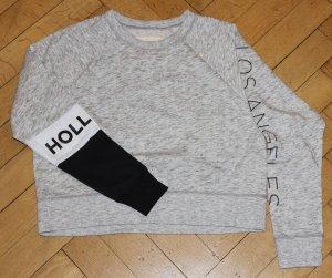 Hollister Sweatshirt grau Gr S Logo hellgrau kurz Pulli Pullover kuschelig weich LA