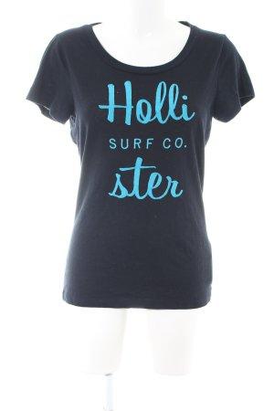 Hollister T-Shirt schwarz-blau Schriftzug gedruckt Casual-Look