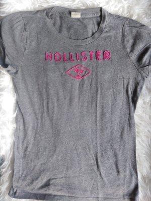 Hollister T-Shirt anthrazit mit pinkem Schriftzug in L