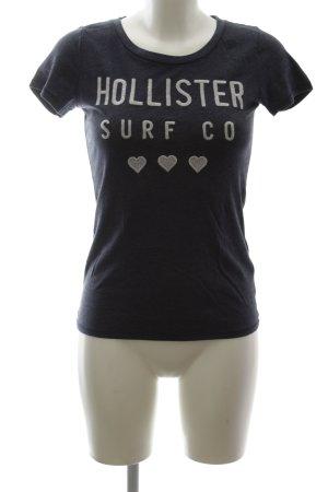 Hollister T-Shirt blau-wollweiß Schriftzug gedruckt Casual-Look