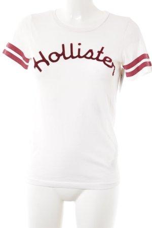 Hollister T-Shirt dunkelrot-weiß Schriftzug gedruckt Casual-Look