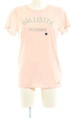 Hollister T-Shirt nude-hellgrau Schriftzug gedruckt Casual-Look