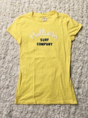 Hollister T-Shirt gelb Logo Print Stickerei Größe M