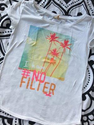 Hollister T-Shirt Gr. XS weiß pink #nofilter rundhals Shirt kurzarm