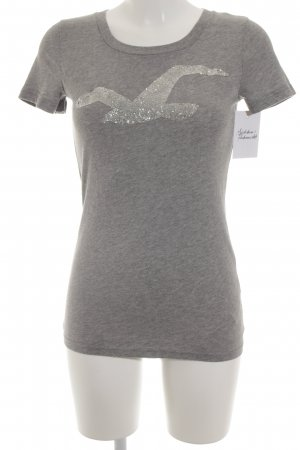 Hollister T-Shirt grau grafisches Muster Casual-Look