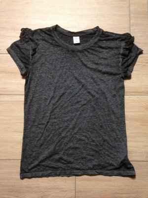 Hollister T-Shirt Größe M dunkelgrau mit Rüschen am Ärmel