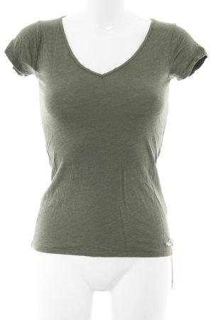 Hollister T-Shirt grüngrau meliert Military-Look