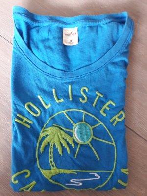 Hollister T-Shirt in blau/ bestickt