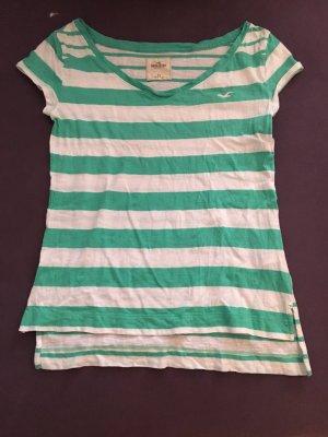 Hollister T-Shirt in grün/weiß