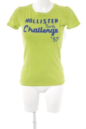 Hollister T-Shirt limettengelb-dunkelblau Schriftzug gestickt Casual-Look