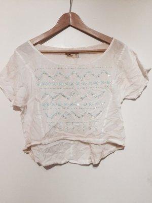 Hollister T-Shirt mit Pailletten Croptop Shirt