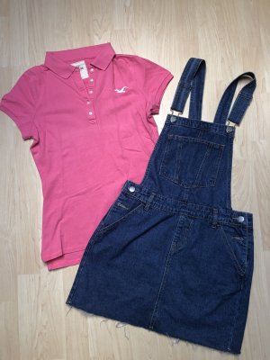 Hollister Camiseta tipo polo rosa