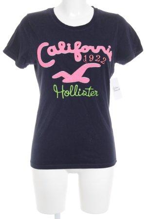 Hollister T-Shirt Schriftzug gestickt schlichter Stil