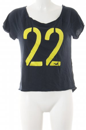 Hollister T-Shirt schwarz-neongelb Schriftzug gedruckt Casual-Look