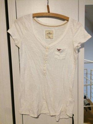 Hollister T-shirt weiß knöpfe