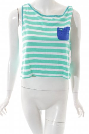 Hollister Tanktop weiß-mint Streifenmuster Beach-Look