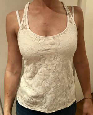 Hollister Top de encaje blanco-crema