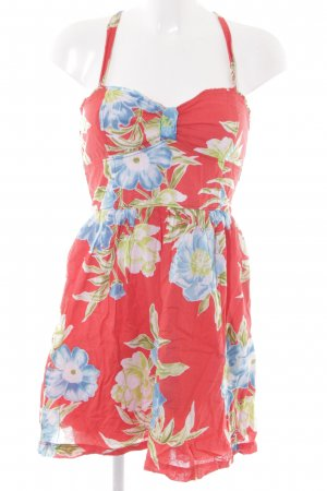 Hollister Trägerkleid rot-himmelblau Blumenmuster Casual-Look
