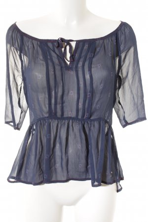 Hollister Transparenz-Bluse dunkelblau-rot Punktemuster Street-Fashion-Look