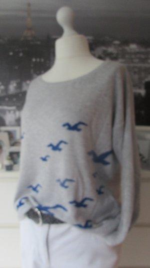Hollister * Traum oversized Strick Pullover * hellgrau-blau MÖWEN * S=36/38/40