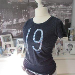 HOLLISTER*Traum Sommer Shirt*d'blau meliert Pailletten*XS=34/36