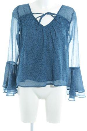 Hollister Tunikabluse stahlblau florales Muster Casual-Look
