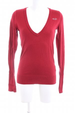 Hollister V-Ausschnitt-Pullover rot Casual-Look