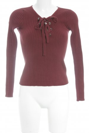 Hollister V-Neck Sweater dark red casual look