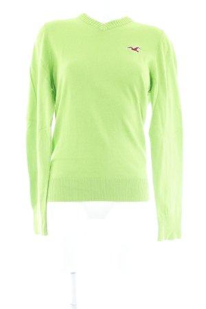 Hollister V-Ausschnitt-Pullover neongrün Casual-Look