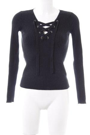Hollister V-Ausschnitt-Pullover schwarz Casual-Look