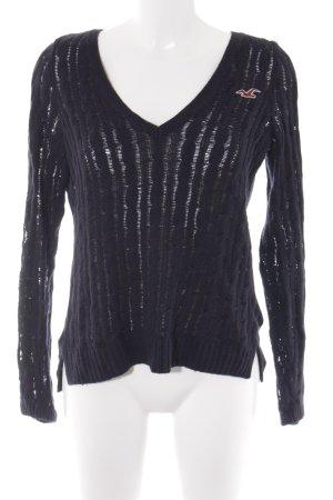 Hollister V-Ausschnitt-Pullover schwarz Zopfmuster Casual-Look