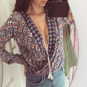 Hollister Wickelbluse Top Oberteil Boho Ethno Shirt