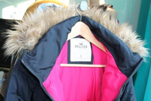 Hollister Parka donkerblauw-neonrood Polyester