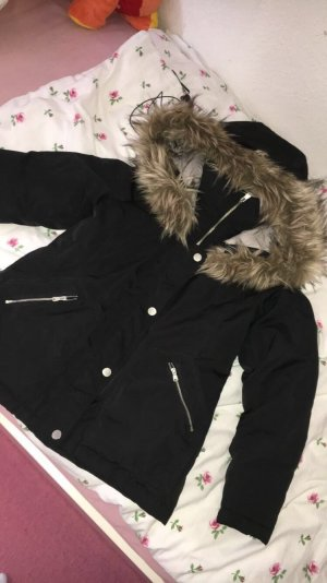 Hollister Winterjacke schwarz mit Fell