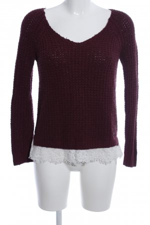 Hollister Wollpullover rot Zopfmuster Casual-Look