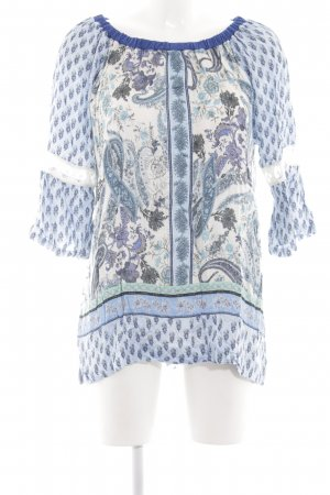 Holly Golightly Langarm-Bluse blau Allover-Druck Casual-Look
