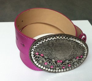 Belt pink-silver-colored