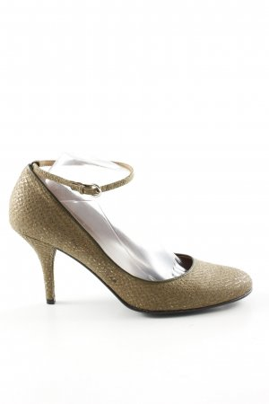 Holly Wood Tacones de tiras color oro estampado de animales elegante